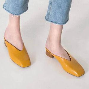 NWOT Oak + Fort Yellow Square Toe Mule Low Heel, 8